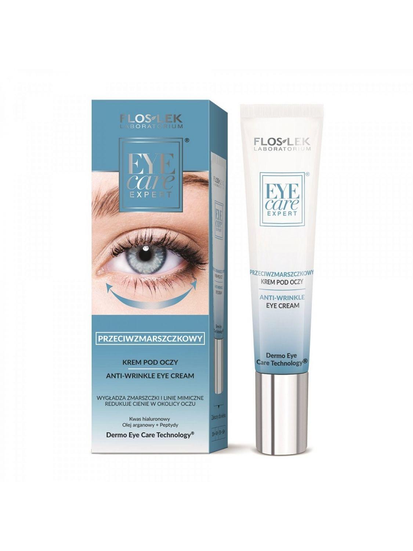 Przeciwzmarszczkowy dermonaprawczy krem pod oczy Floslek Eye Care Expert peptydy i kwas hialuronowy