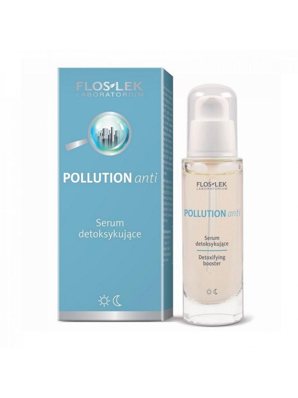 Serum do twarzy POLLUTION anti city detox nawilżające ze złotem koloidalnym i peptydami na dzień i na noc FLOSLEK 30ml