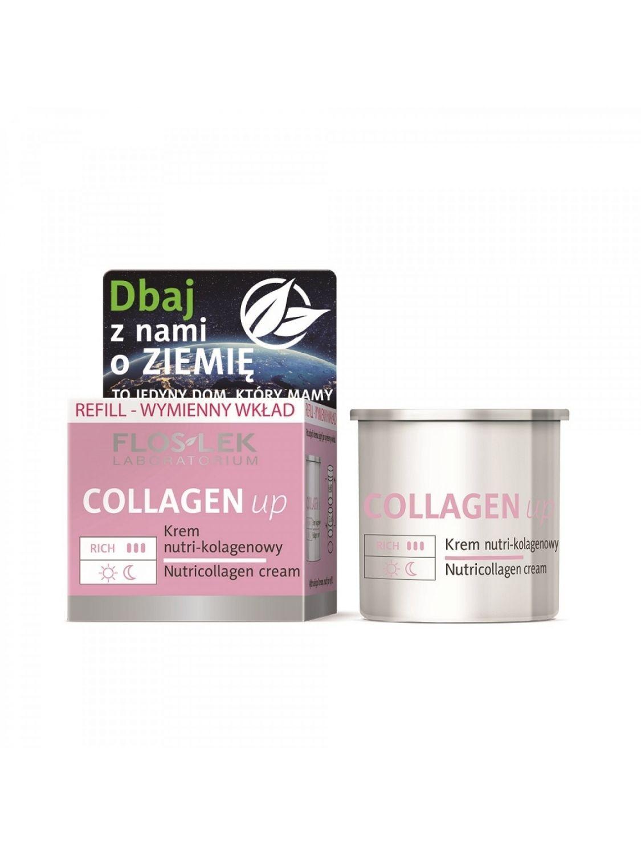 Wkład wymienny REFILL Krem do twarzy COLLAGEN up redukujący zmarszczki nutri kolagen na dzień i na noc FLOSLEK 50ml