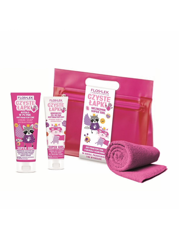 Niezbędnik Super Girl FLOSLEK: żel antybakteryjny + mydło antybakteryjne + ręcznik