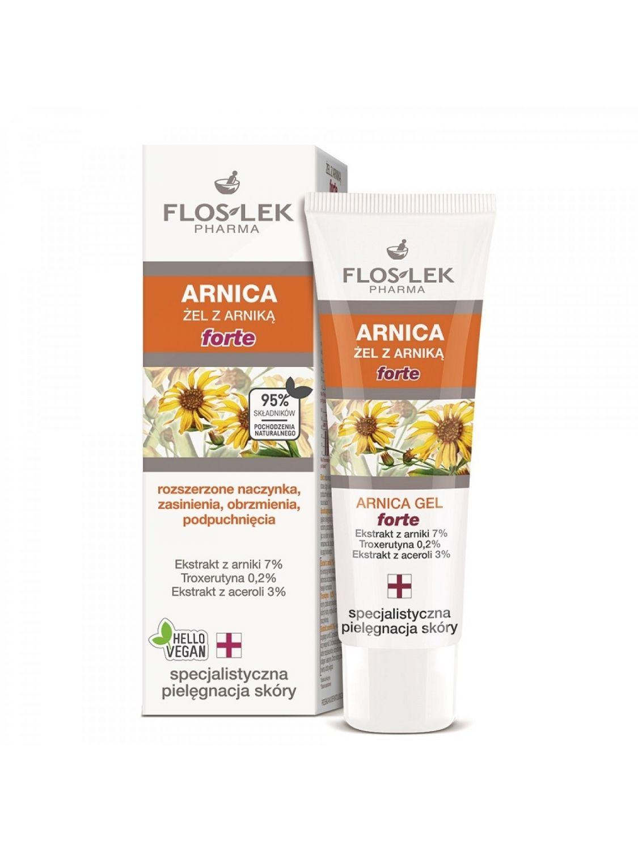ARNICA Arnika-Gel gegen erweiterte Blutgefäße, Blutergüsse, Prellungen, Schwellungen 50 ml - Floslek