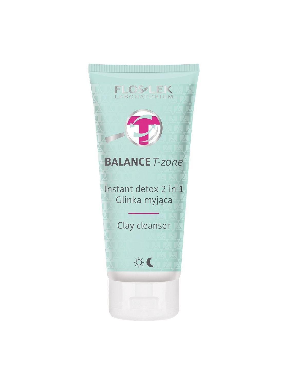 Glinka kosmetyczna BALANCE T-zone  myjąca do twarzy kaolinowa Instant Detox 2w1 na dzień i na noc FLOSLEK 125ml
