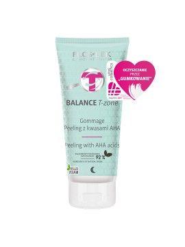 Peeling Gommage BALANCE T-zone do twarzy oczyszczający z kwasami AHA wygładzający na noc FLOSLEK 125g