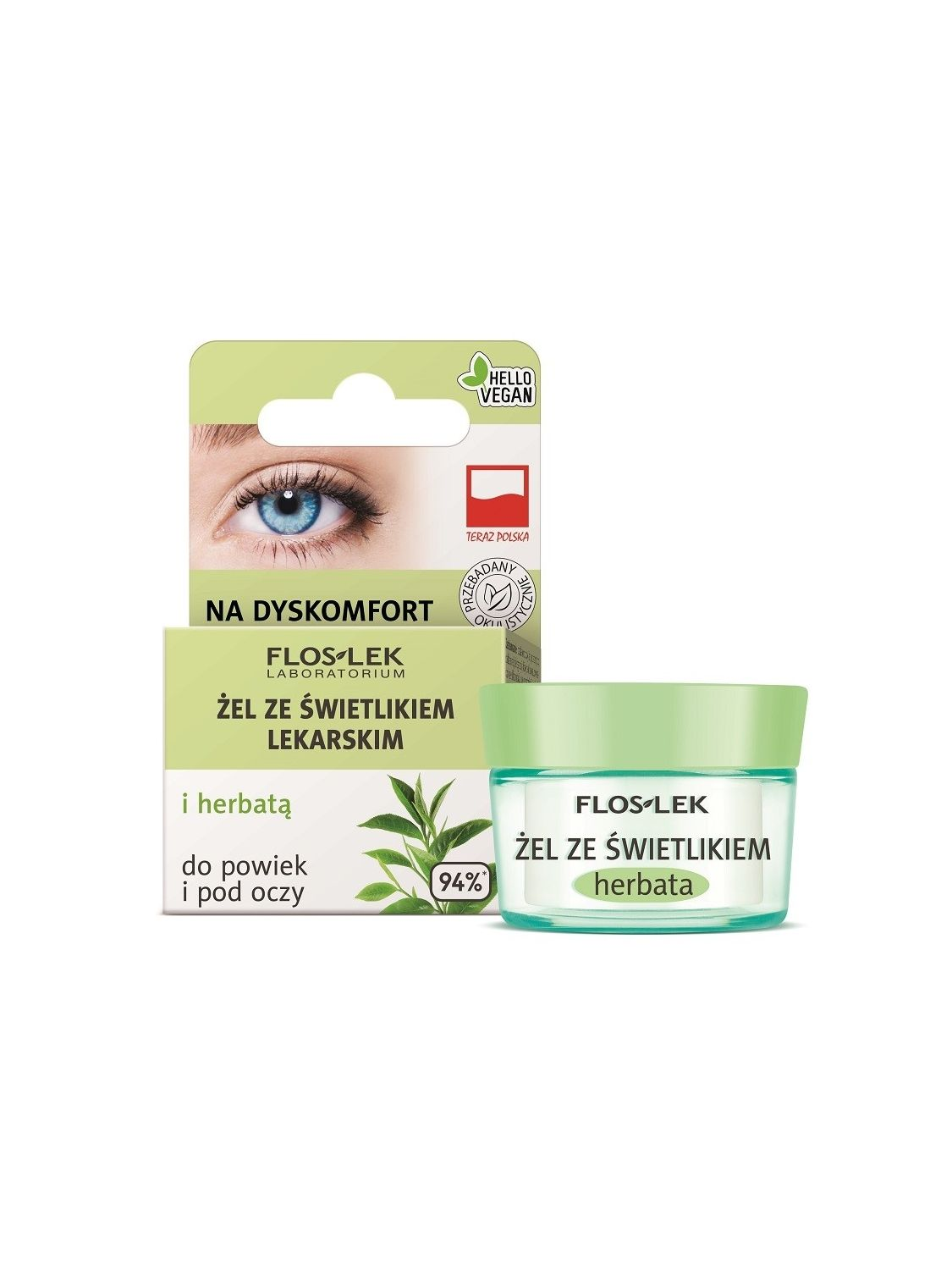 Lid and under eye gel with eyebright  and green tea for discomfort - 10g -Floslek