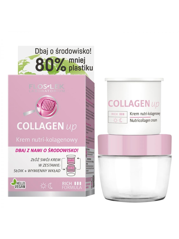 EKO zestaw Krem do twarzy COLLAGEN up redukujący zmarszczki nutri kolagen na dzień i na noc FLOSLEK 50ml