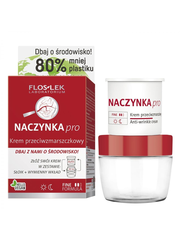 Krem do twarzy przeciwzmarszczkowy dla cery wrażliwej i naczynkowej na dzień i na noc EKO zestaw FLOSLEK 50ml