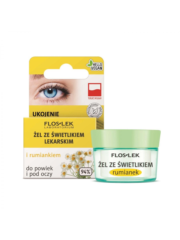 Żel do powiek i pod oczy ze świetlikiem lekarskim i rumiankiem panthenol FLOSLEK