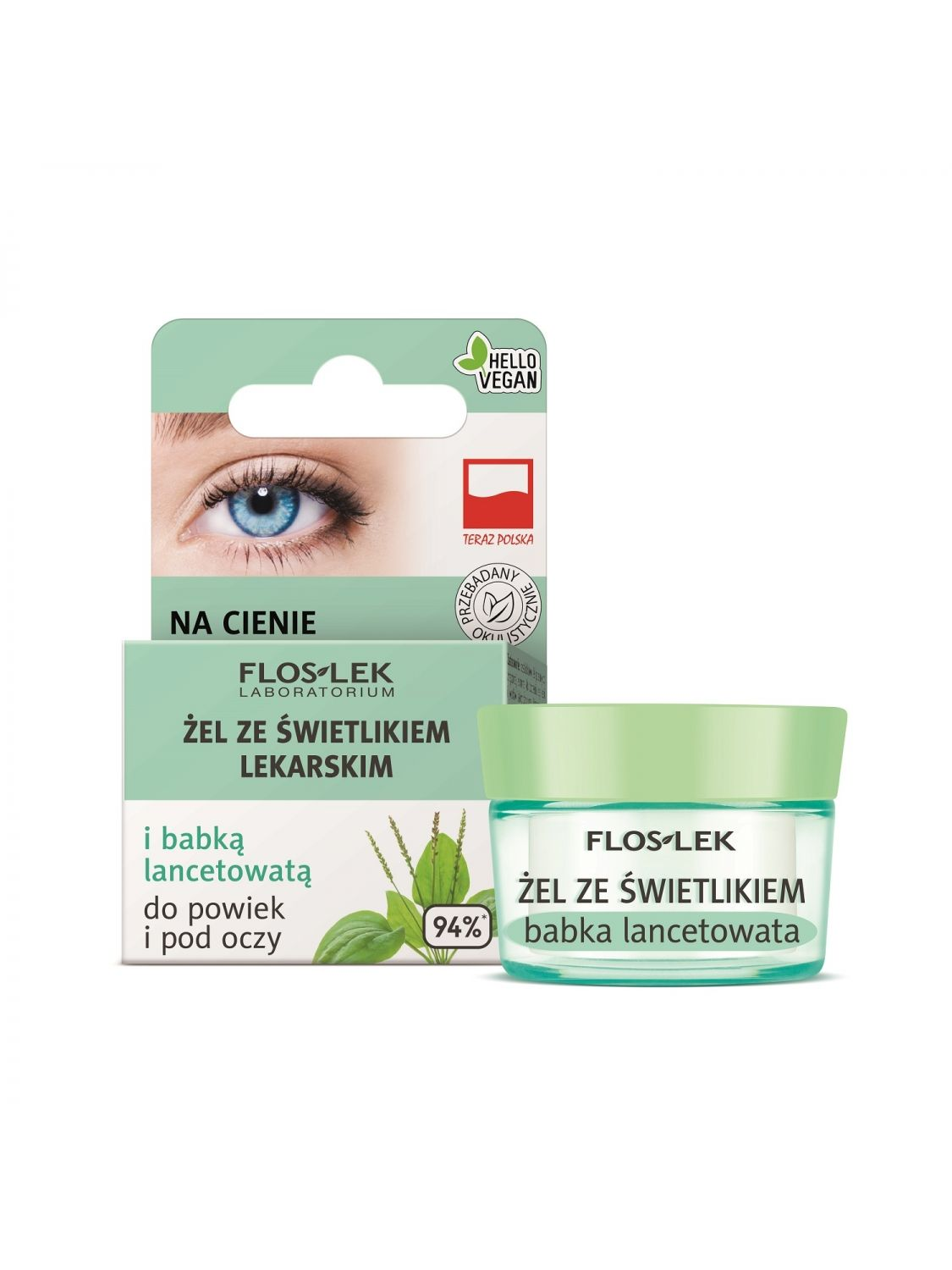 """Lid and under eye gel with eyebright  and plantain for dark circles & """"bags - 10g - Floslek"""""""