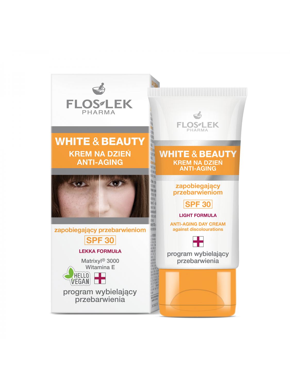 WHITE & BEAUTY® ANTI-AGING Tagescreme gegen Hautverfärbungen SPF 30 - 30 ml - Floslek