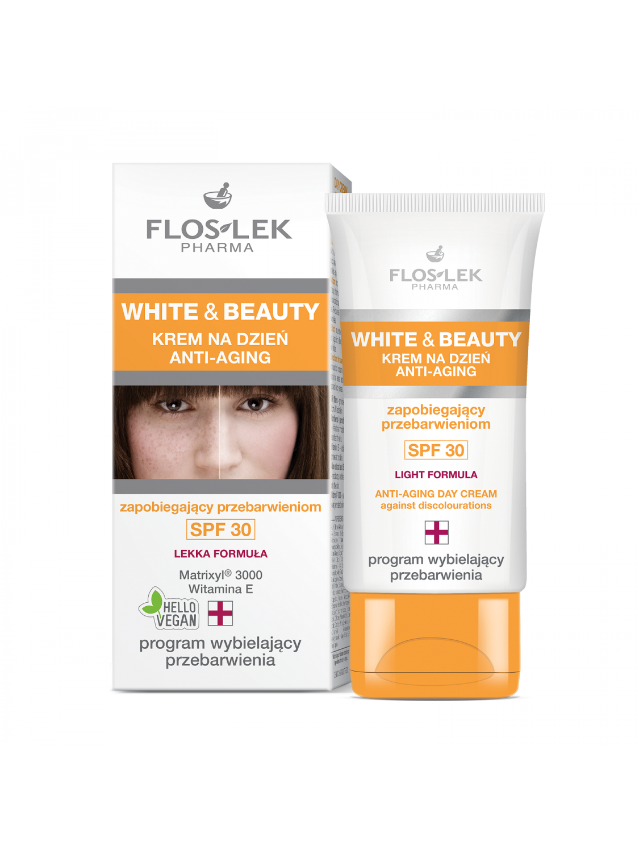FLOSLEK WHITE&BEAUTY krem na dzień anti-aging zapobiegający przebarwieniom SPF30