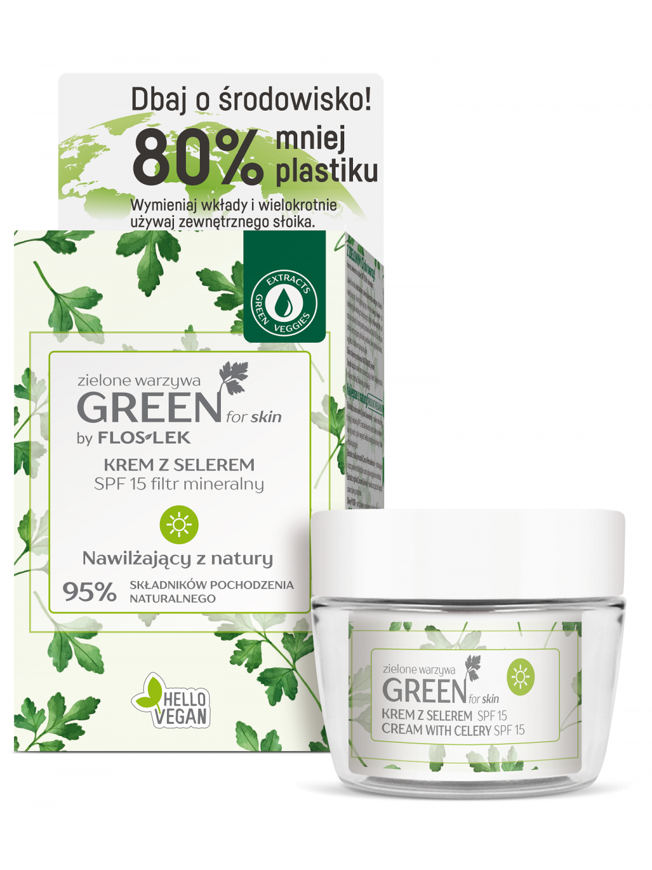 GREEN FOR SKIN® Grünes Gemüse Tagescreme mit Sellerie mineralischer Filter SPF 15 [ECO Set] 50 ml - Floslek