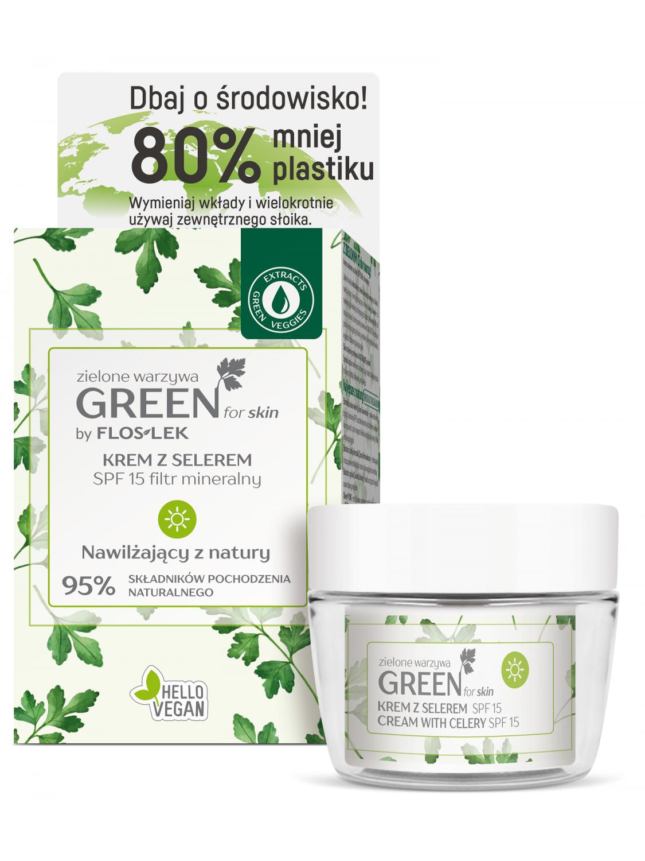 GREEN for skin® Зеленые овощи Дневной крем с сельдереем с минеральным фильтром SPF 15 [эко-комплект]      F 15