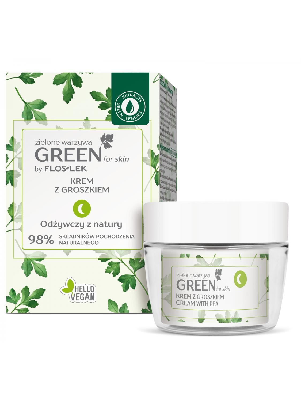 GREEN FOR SKIN® Grünes Gemüse Nachtcreme mit Erbsen [ECO Set] 50 ml - Floslek
